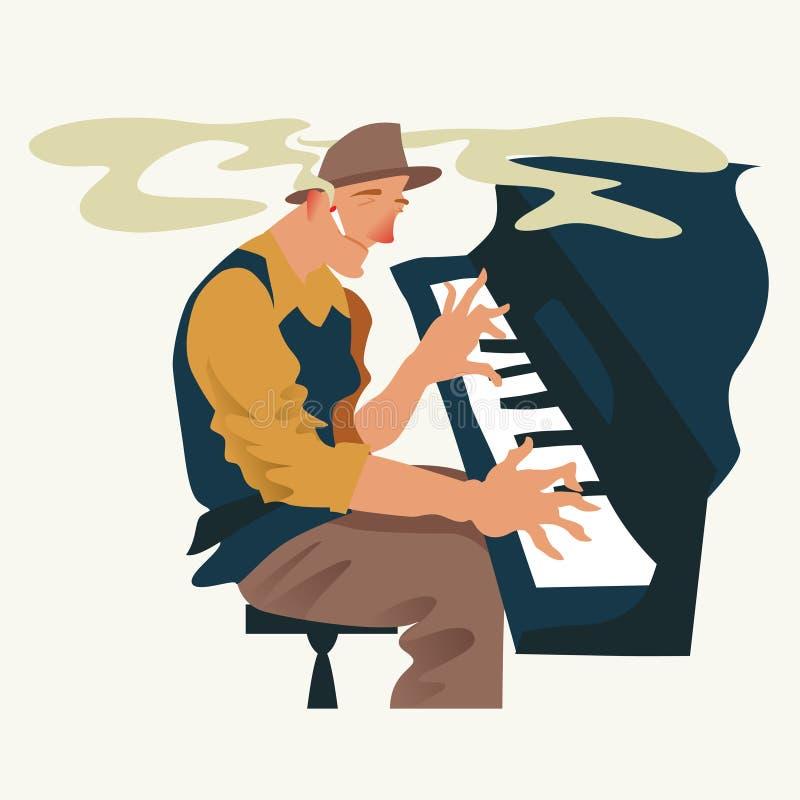 Ο μουσικός παίζει ένα πιάνο Jazz ή φορέας πληκτρολογίων μπλε επίσης corel σύρετε το διάνυσμα απεικόνισης απεικόνιση αποθεμάτων