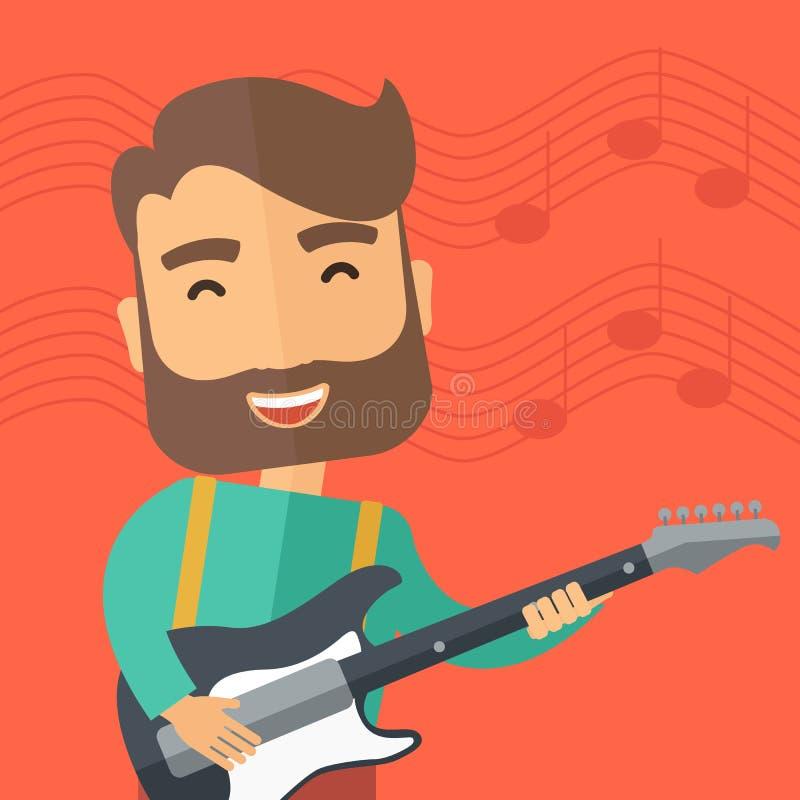 Ο μουσικός παίζει την ηλεκτρική κιθάρα διανυσματική απεικόνιση