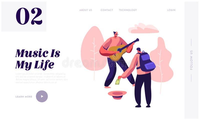 Ο μουσικός Hipster εκτελεί παρουσιάζει στην κιθάρα παιχνιδιού οδών για τους πεζούς στο πάρκο, τεθειμένα περαστικός χρήματα στο κα ελεύθερη απεικόνιση δικαιώματος