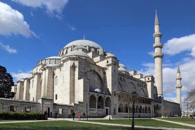 16ο μουσουλμανικό τέμενος Suleymaniye αιώνα, το μεγαλύτερο μουσουλμανικό τέμενος στη Ιστανμπούλ στοκ εικόνες