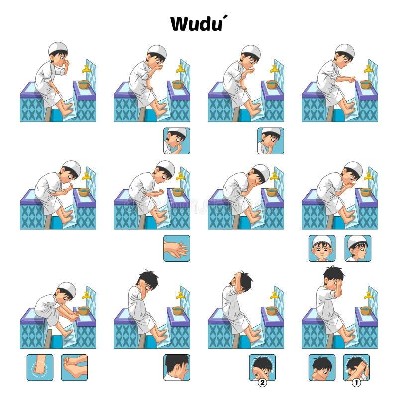 Ο μουσουλμανικός τελετουργικός οδηγός πλύσης ή καθαρισμού που χρησιμοποιεί βαθμιαία το νερό αποδίδει από το αγόρι ελεύθερη απεικόνιση δικαιώματος