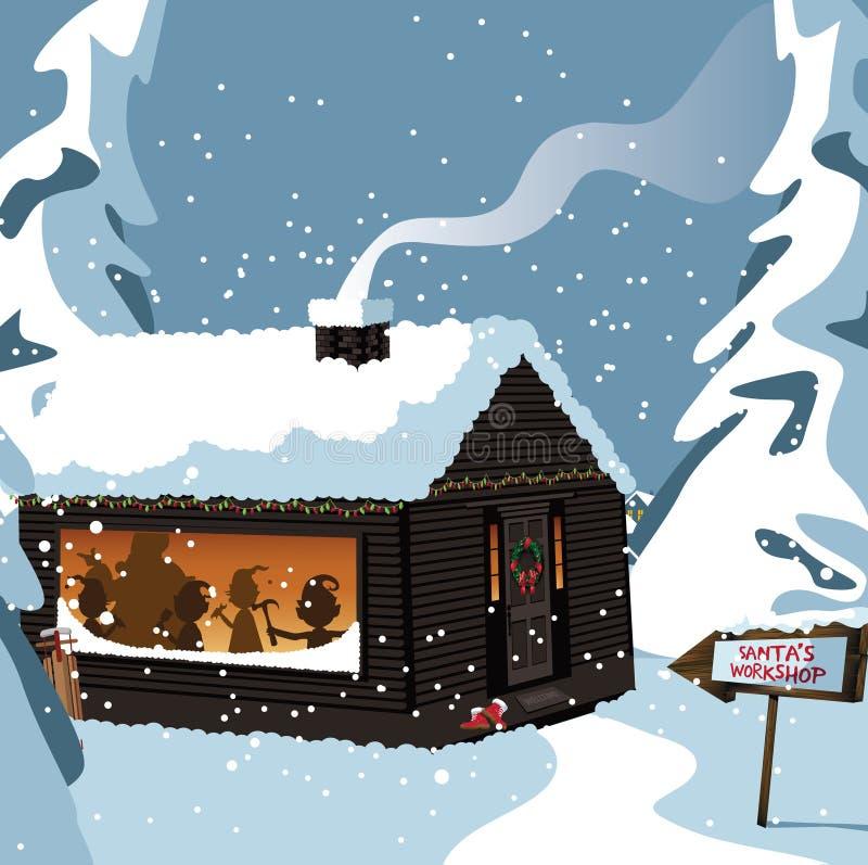 ο μπλε διακοσμημένος Βορράς διακοπών κλίσης ανασκόπησης πέρα από το εργαστήριο χιονιού εποχής santa στεγών s πόλων διανυσματική απεικόνιση