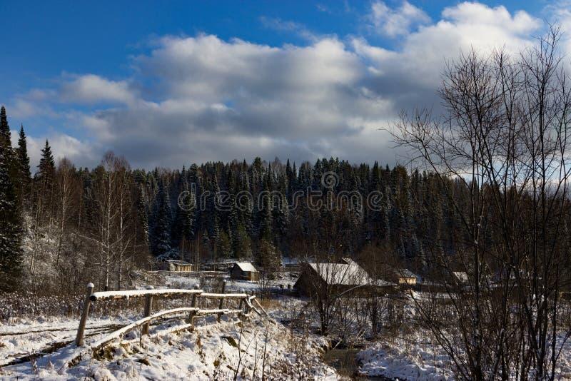 ο μπλε παγετός σκοτεινής μέρας κλάδων βρίσκεται χειμώνας δέντρων χιονιού ουρανού στοκ εικόνες με δικαίωμα ελεύθερης χρήσης