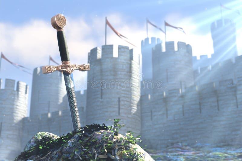 Ο μύθος για το βασιλιά Άρθουρ και το ξίφος σε μια πέτρα ελεύθερη απεικόνιση δικαιώματος