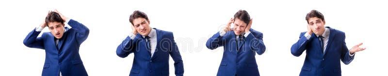 Ο νέος άρρωστος και δυστυχισμένος επιχειρηματίας που απομονώνεται στο άσπρο υπόβαθρο στοκ φωτογραφία με δικαίωμα ελεύθερης χρήσης