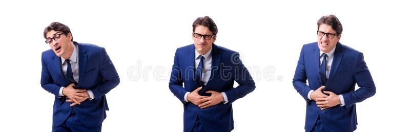 Ο νέος άρρωστος και δυστυχισμένος επιχειρηματίας που απομονώνεται στο άσπρο υπόβαθρο στοκ εικόνες με δικαίωμα ελεύθερης χρήσης