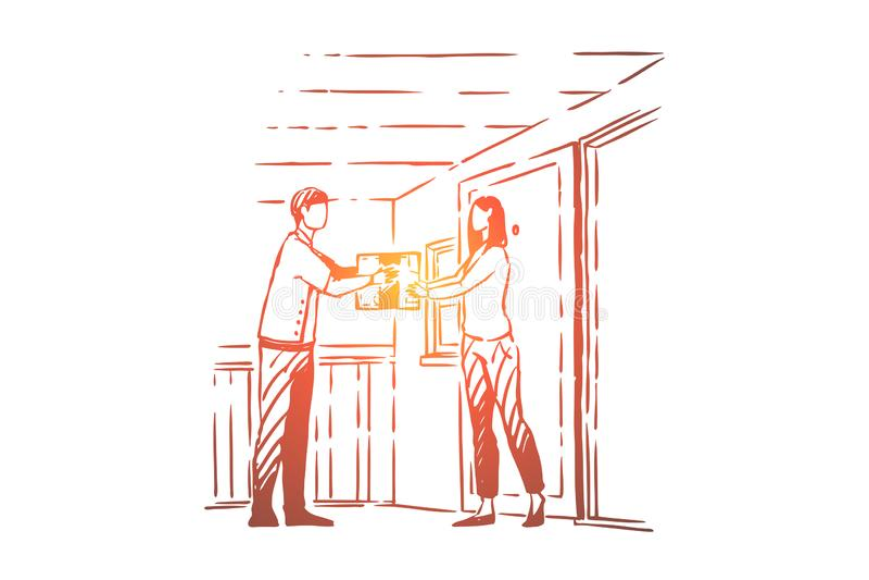 Ο νέος αγγελιαφόρος δίνει το κουτί από χαρτόνι πελατών, η γυναίκα λαμβάνει το ταχυδρομείο, επάγγελμα ταχυδρόμων, διοικητικές μέρι διανυσματική απεικόνιση
