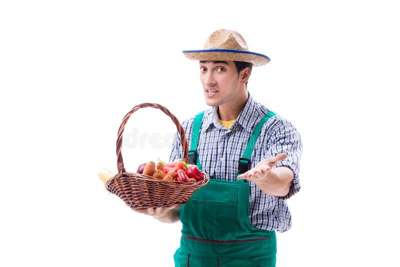 Ο νέος αγρότης που απομονώνεται στο άσπρο υπόβαθρο στοκ εικόνα