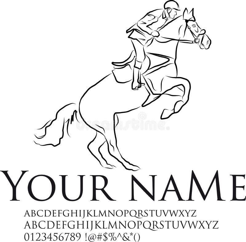 Ο νέος αναβάτης που εκτελεί το άλμα στο άλογο κόλπων πέρα από ένα εμπόδιο παρουσιάζει άλμα ελεύθερη απεικόνιση δικαιώματος