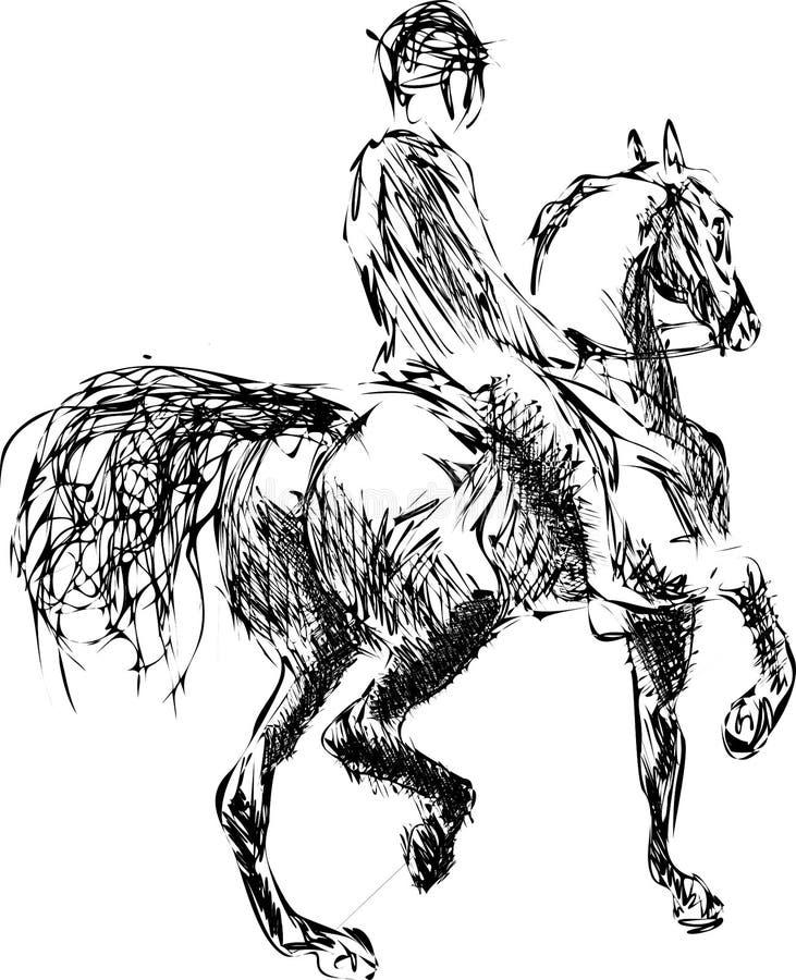 Ο νέος αναβάτης που εκτελεί το άλμα στο άλογο κόλπων πέρα από ένα εμπόδιο παρουσιάζει άλμα διανυσματική απεικόνιση