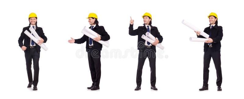 Ο νέος αρχιτέκτονας κατασκευής που απομονώνεται στο λευκό στοκ εικόνα
