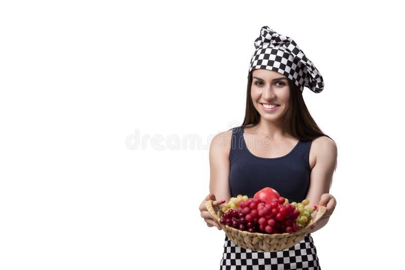 Ο νέος μάγειρας γυναικών που απομονώνεται στο άσπρο υπόβαθρο στοκ εικόνες