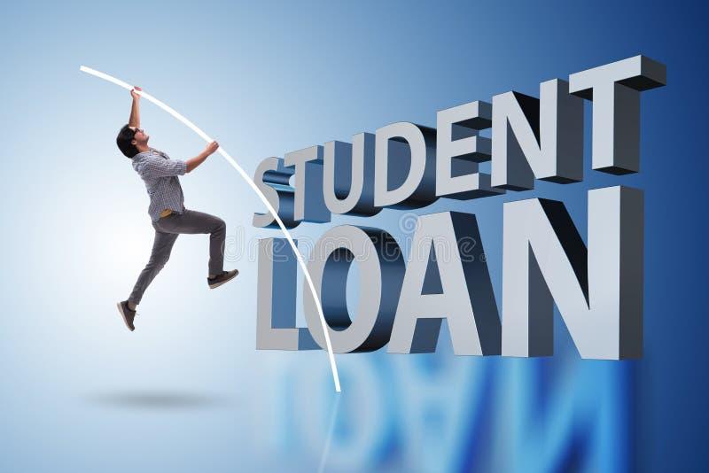 Ο νέος σπουδαστής στην έννοια δανείου και χρέους στοκ φωτογραφίες