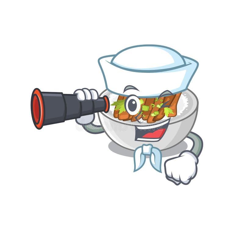 Ο ναυτικός με το διοφθαλμικό donburi είναι μαγειρευμένος σε ένα skillet ελεύθερη απεικόνιση δικαιώματος