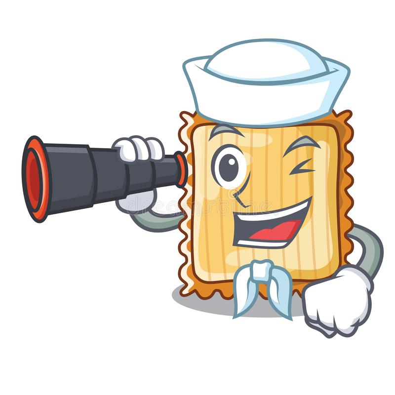 Ο ναυτικός με το διοφθαλμικό lasagne είναι μαγειρευμένος στο φούρνο μασκότ διανυσματική απεικόνιση