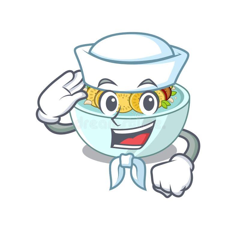 Ο ναυτικός ratatouille είναι μαγειρευμένος στο τηγάνι μασκότ απεικόνιση αποθεμάτων
