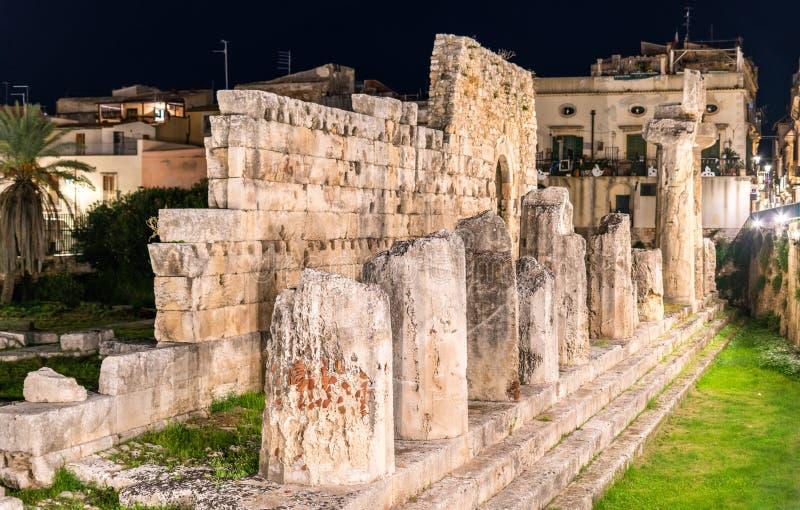 Ο ναός απόλλωνα, ένα μνημείο αρχαίου Έλληνα στις Συρακούσες, Σικελία, Ιταλία στοκ εικόνες