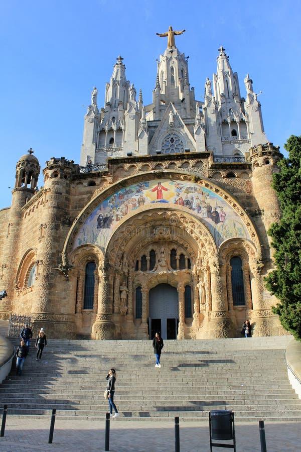 Ο ναός Expiatori del Sagrat Cor στη σύνοδο κορυφής του υποστηρίγματος Tibidabo στη Βαρκελώνη, Καταλωνία, Ισπανία στοκ φωτογραφία