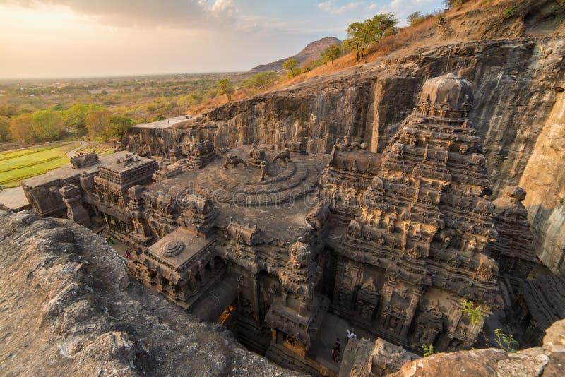 Ο ναός Kailas σε Ellora ανασκάπτει σύνθετο στοκ φωτογραφίες με δικαίωμα ελεύθερης χρήσης