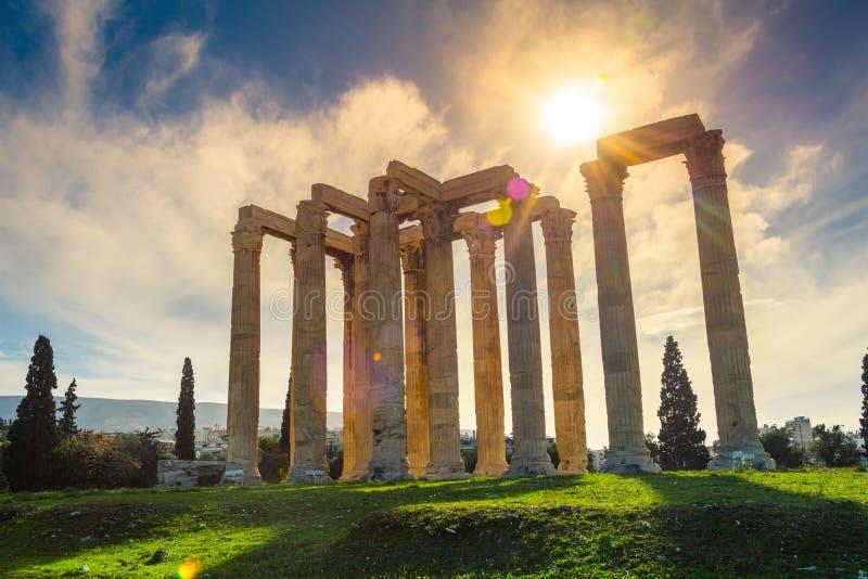 Ο ναός Olympian Zeus ελληνικά: Tou Olimpiou Dios NAO (Εθνικός Οργανισμός Διαιτησίας), επίσης γνωστό ως Olympieion, Αθήνα στοκ φωτογραφίες με δικαίωμα ελεύθερης χρήσης