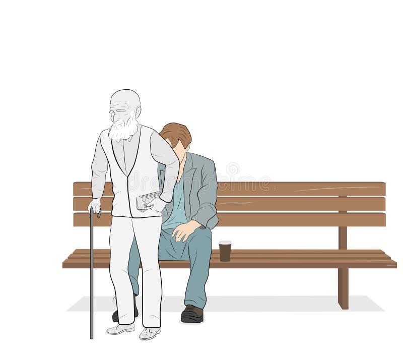 Ο νεαρός άνδρας κάθεται σε έναν πάγκο και σηκώνεται παλαιός έννοια της ανθρώπινης ζωής επίσης corel σύρετε το διάνυσμα απεικόνιση διανυσματική απεικόνιση