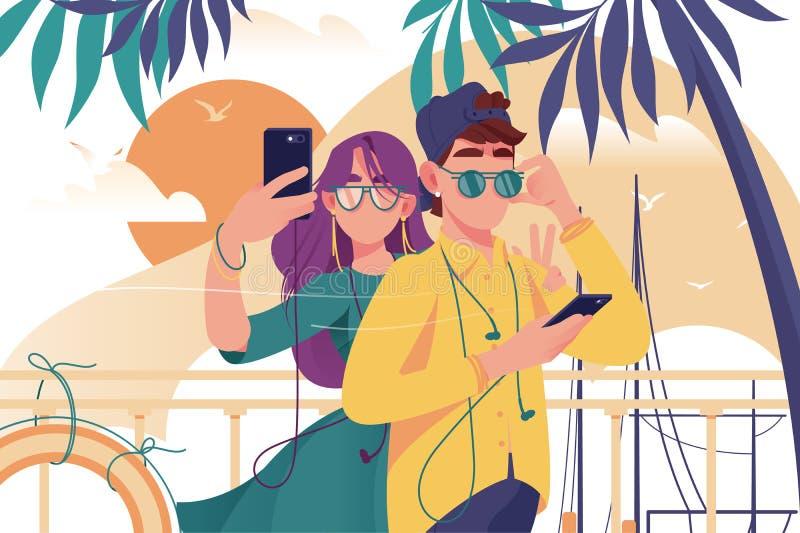 Ο νεαρός άνδρας και η γυναίκα συνδέουν με το κινητό τηλέφωνο, τα γυαλιά και τα θερινά ενδύματα κάνουν τη φωτογραφία απεικόνιση αποθεμάτων