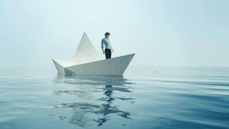 Ο νεαρός άνδρας πλοηγεί στη βάρκα εγγράφου ελεύθερη απεικόνιση δικαιώματος