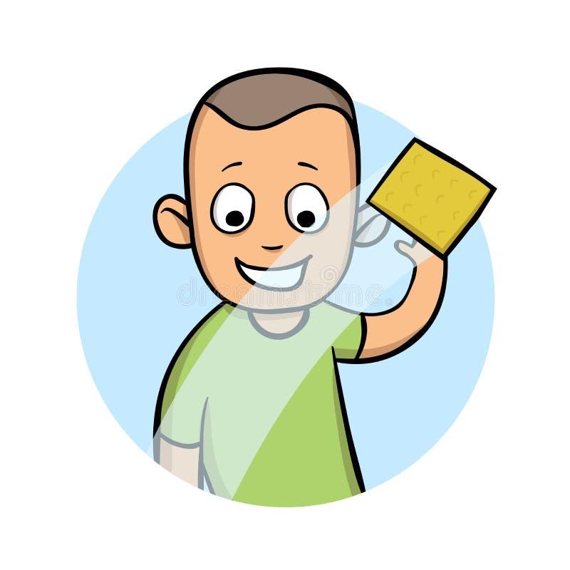 Ο νεαρός άνδρας σκουπίζει ένα παράθυρο ή ένα γυαλί αυτοκινήτων με ένα υγρό ύφασμα Κινούμενων σχεδίων απεικόνιση, που απομονώνεται απεικόνιση αποθεμάτων
