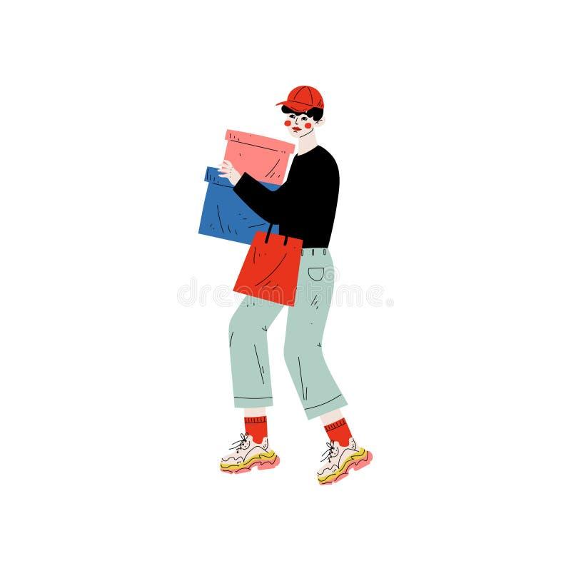 Ο νεαρός άνδρας στα καθιερώνοντα τη μόδα ενδύματα που φέρνουν τα κιβώτια και τις τσάντες αγορών, τύπος που ψωνίζει στο κατάστημα, διανυσματική απεικόνιση