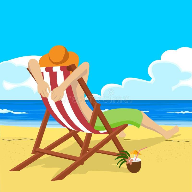 Ο νεαρός άνδρας στη συνεδρίαση καπέλων αχύρου στην καρέκλα γεφυρών στην τροπική παραλία εξετάζει την απόσταση ελεύθερη απεικόνιση δικαιώματος