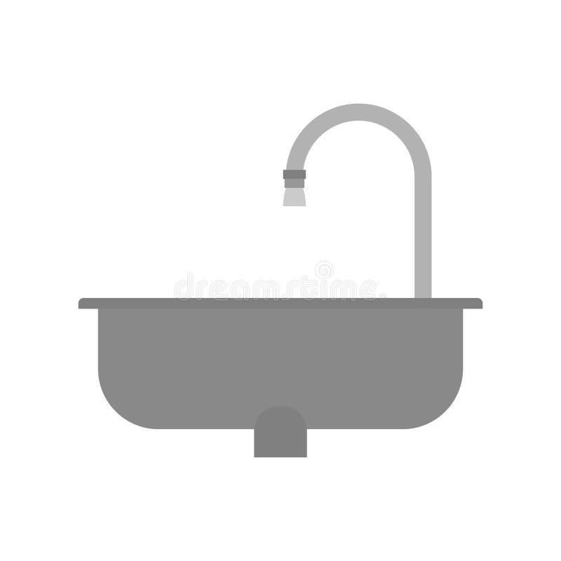 Ο νεροχύτης κουζινών είναι που απομονώνεται κενός επίσης corel σύρετε το διάνυσμα απεικόνισης ελεύθερη απεικόνιση δικαιώματος