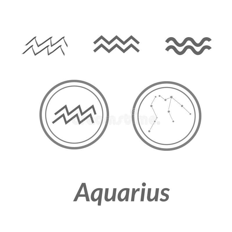 Ο νερό-φορέας Υδροχόος τραγουδά Διανυσματικό στοιχείο αστερισμού αστεριών Ηλικία zodiac αστερισμού Υδροχόου του συμβόλου στο φως απεικόνιση αποθεμάτων