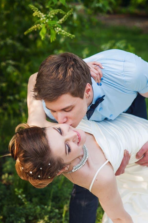 Ο νεόνυμφος φιλά τη νύφη σε ένα υπόβαθρο των πράσινων φύλλων στη SP στοκ φωτογραφία