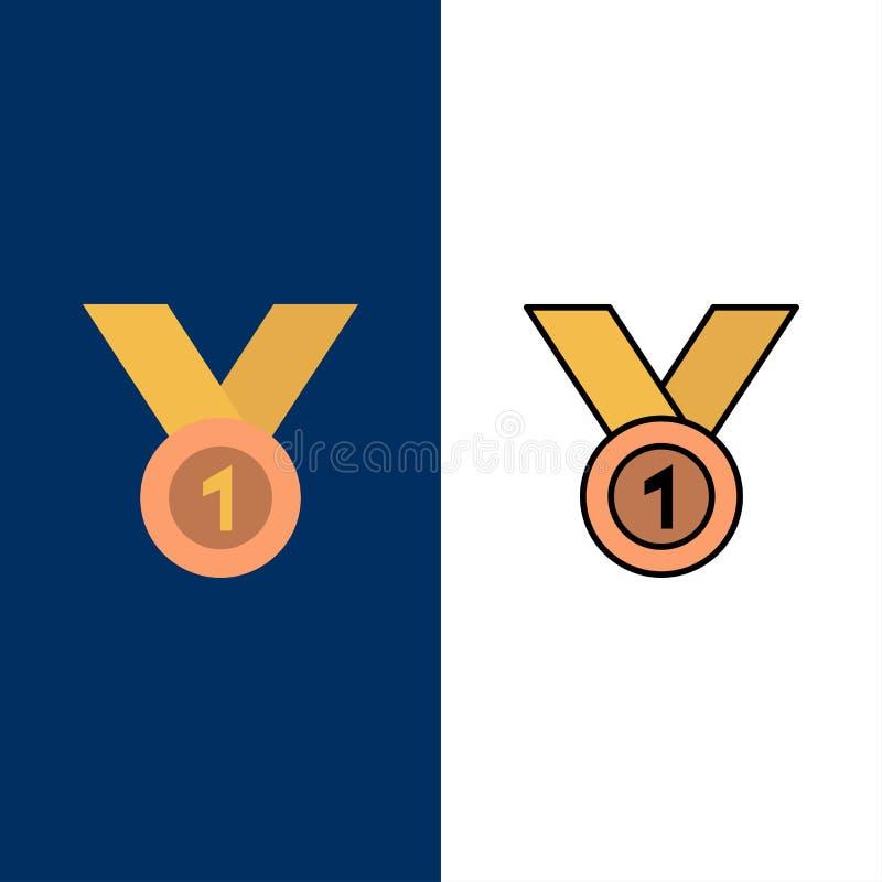 Ο νικητής, επιτυγχάνει, απονέμει, ηγέτης, μετάλλιο, κορδέλλα, κερδίζει τα εικονίδια Επίπεδος και γραμμή γέμισε το καθορισμένο δια ελεύθερη απεικόνιση δικαιώματος
