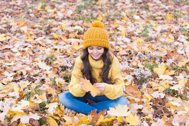 Ο Νοέμβριος είναι εδώ Παιδί με κίτρινο καπέλο σε εξωτερικό χώρο Το καπέλο διατηρείται ζεστό Παιδί που φοράει ζεστό μαλακό πλεκτό  στοκ φωτογραφία