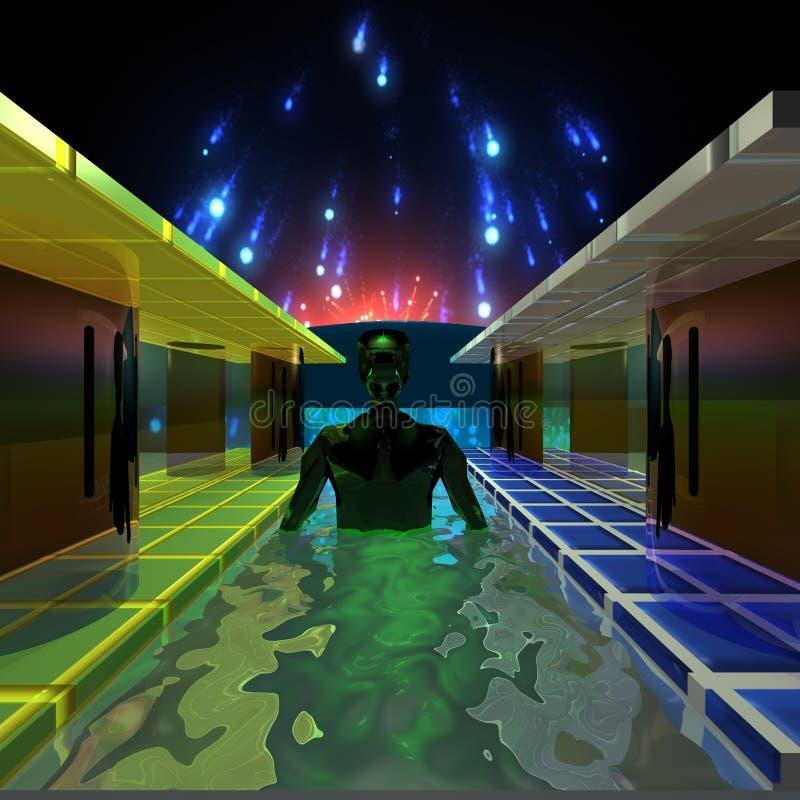 Ο ξένος στη λίμνη διανυσματική απεικόνιση