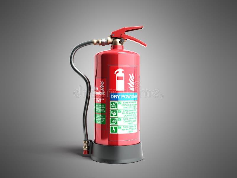 Ο ξηρός πυροσβεστήρας δύναμης τρισδιάστατος δίνει στο γκρίζο υπόβαθρο ελεύθερη απεικόνιση δικαιώματος