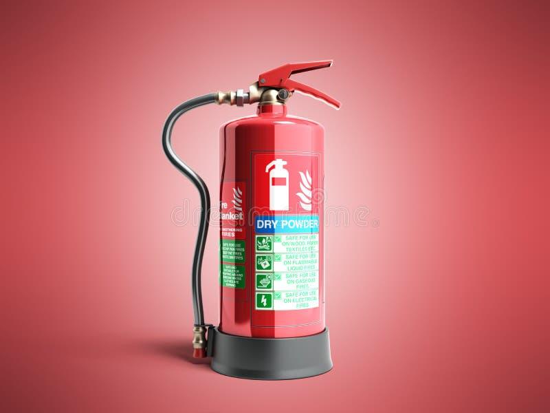 Ο ξηρός πυροσβεστήρας δύναμης τρισδιάστατος δίνει στο κόκκινο υπόβαθρο απεικόνιση αποθεμάτων