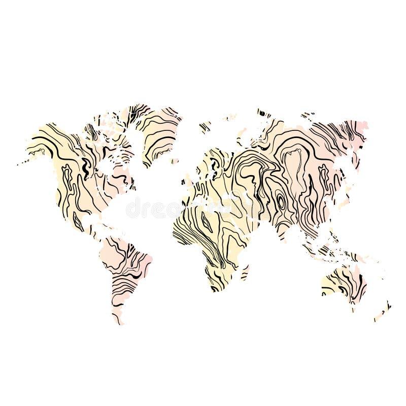 Ο ξύλινος συρμένος χέρι Μαύρος παγκόσμιας σύστασης χαρτών στο υπόβαθρο κλίσης διάνυσμα ελεύθερη απεικόνιση δικαιώματος