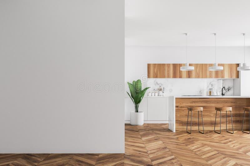 Ο ξύλινος φραγμός σε μια άσπρη κουζίνα, χλευάζει επάνω τον τοίχο στοκ φωτογραφία