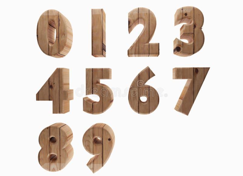 Ο ξύλινος αριθμός σε τρισδιάστατο δίνει την εικόνα διανυσματική απεικόνιση
