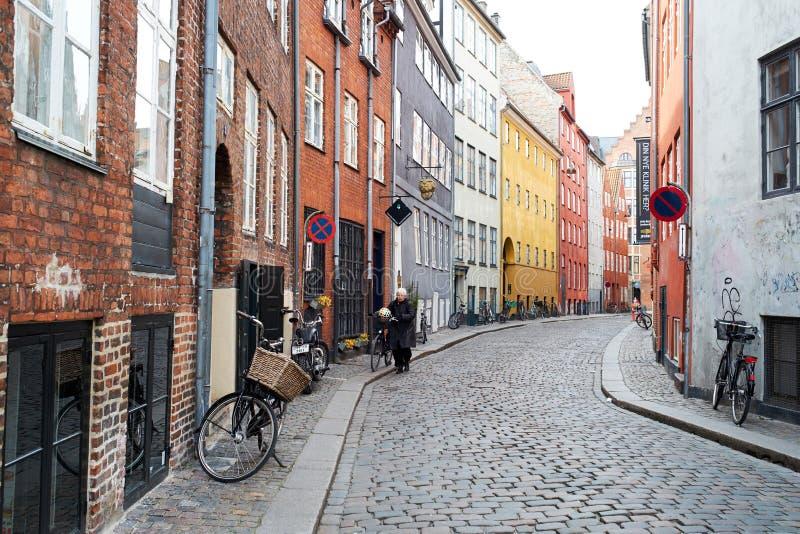 Οδοί κυβόλινθων της Κοπεγχάγης στοκ φωτογραφίες με δικαίωμα ελεύθερης χρήσης