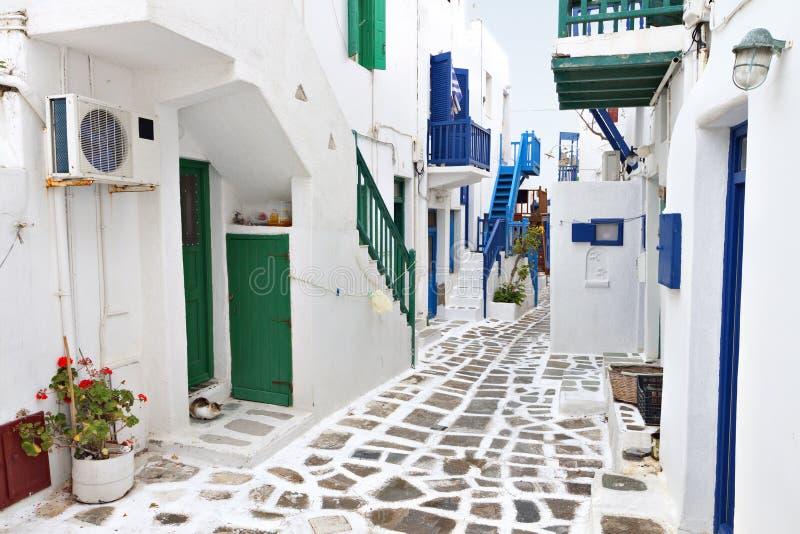 Οδοί του νησιού της Μυκόνου, Ελλάδα στοκ φωτογραφία με δικαίωμα ελεύθερης χρήσης