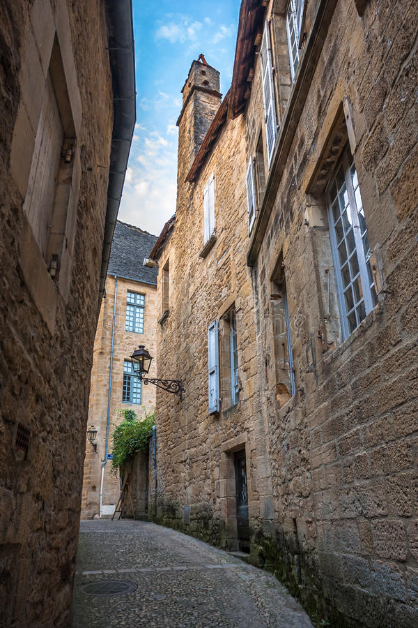 Οδοί Sarlat, μεσαιωνική πόλη, Dordogne, Aquitaine, Γαλλία στοκ φωτογραφία