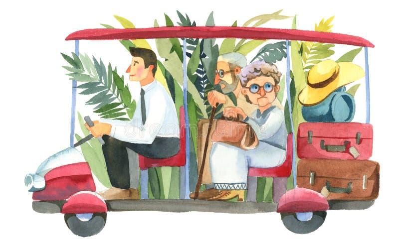 Ο οδηγός ξενοδοχείων φέρνει cople τους συνταξιούχους τουριστών απεικόνιση αποθεμάτων