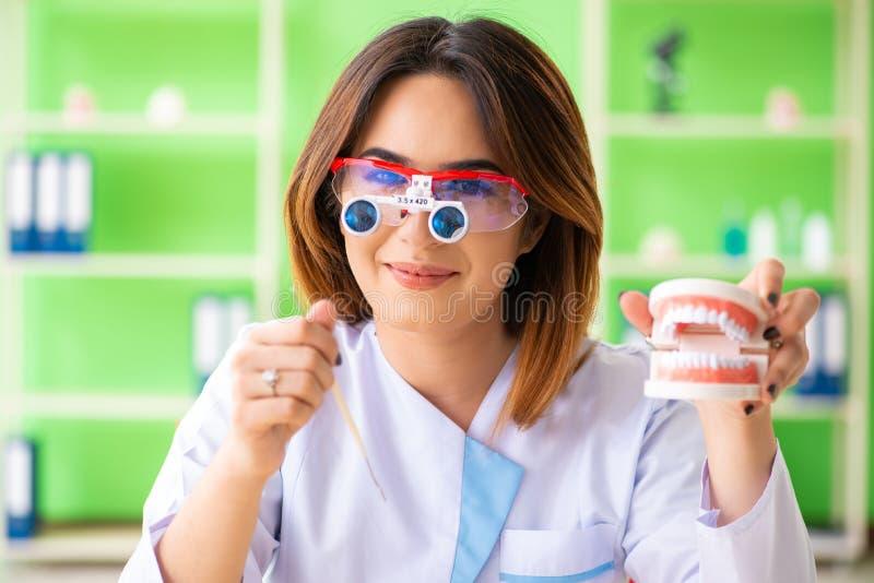 Ο οδοντίατρος γυναικών που εργάζεται στο μόσχευμα δοντιών στοκ εικόνες με δικαίωμα ελεύθερης χρήσης