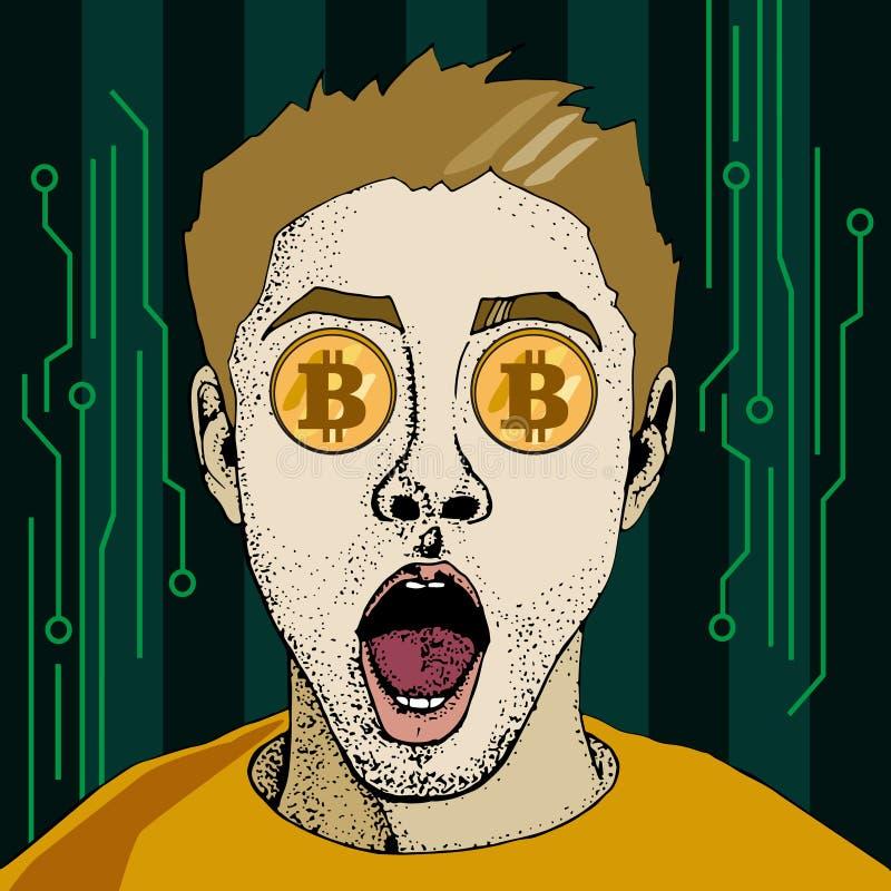 Ο οικονομικός έλεγχος crypto των διοπτρών επιχειρηματιών νομίσματος bitcoin σκάει το αναδρομικό ύφος τέχνης ελεύθερη απεικόνιση δικαιώματος