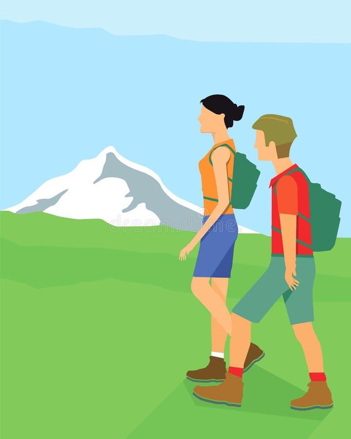 Οδοιπόροι στα βουνά ελεύθερη απεικόνιση δικαιώματος