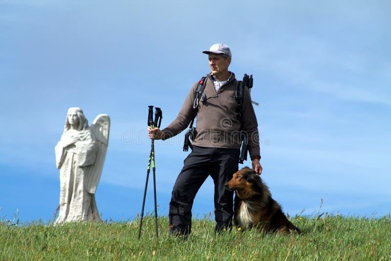 Οδοιπόρος που στέκεται στην κορυφή του Hill με το σκυλί του στοκ εικόνες με δικαίωμα ελεύθερης χρήσης