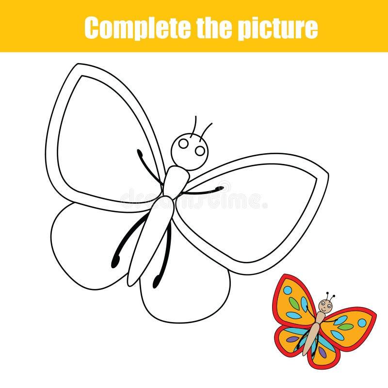 Ολοκληρώστε το εκπαιδευτικό παιχνίδι σχεδίων παιδιών εικόνων, σελίδα χρωματισμού για τα παιδιά διανυσματική απεικόνιση